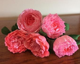 Crepe paper peonies mix pinks Wedding flowers pink paper flowers