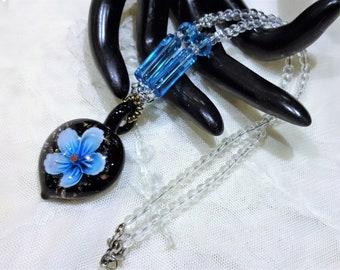 Vintage Glass Strand Flower Pendant Necklace