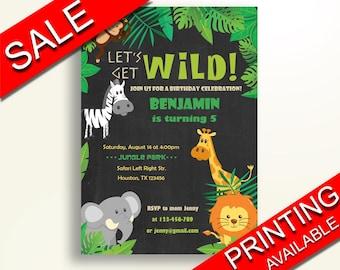 Safari Birthday Invitation Animals Birthday Party Invitation Safari Birthday Party Animals Invitation Boy Girl jungle safari party 0644G