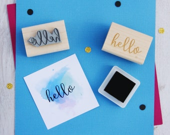 Hello Sentiment Text Rubber Stamp - Script Font - Card Making - Scrapbooking - Greeting - Salutation - Hi - Hello There