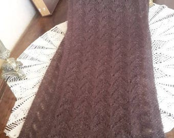 MARRON SCARF HANDKNITTED mohair and silkd