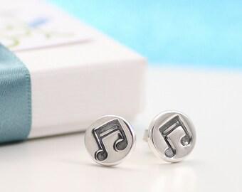 Musical Note Earrings, Music Earrings, Gift for Music Lover, Silver Stud Earrings, Music Note Earrings, Gift for her,