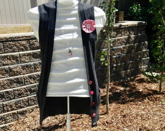 Upcycled Buttoned Vest – Size XS/S