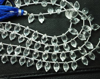 8 Inch Long Strand,Superb-Finest Quality Rock Cystal Faceted Dew Drops Shape Briolettes-9-10mm  size