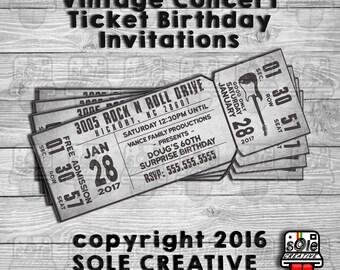 Printable concert ticket birthday invitation digital file concert ticket birthday invitations filmwisefo Images