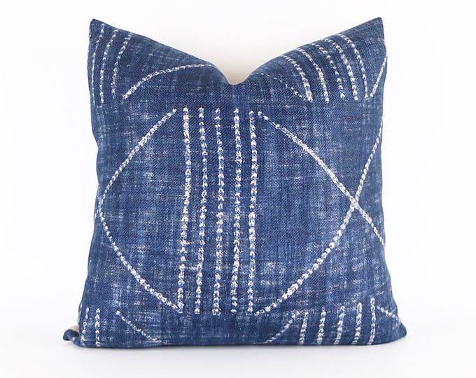 Indigo 100% Heavy Weight Linen Tribal African Textile Pillow Cover 20x20