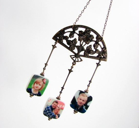 Photo Ornament - Filigree Chandelier Ornament with Photo Charms - COP3x3