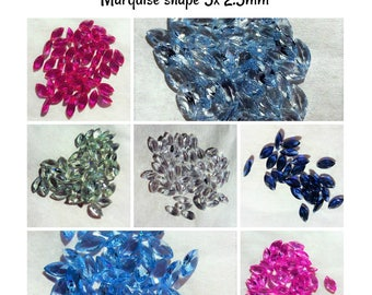 Lab created Gemstones- 5x2.5mm Marquise (select color)