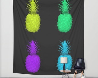 Pineapple Tapestry, POP ART, Neon Color Tapestry, Large Wall Decor, Contemporary Tapestry, Abstract Decor, Wall Hanging, Dorm Decor, Surreal