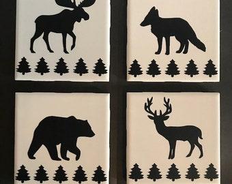 Cabin Outdoor Theme Ceramic Tile Drink Coasters - Set of 4 - Black Vinyl