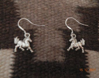 Silver-tone Running Horse Dangle Earrings with Sterling Silver Hooks