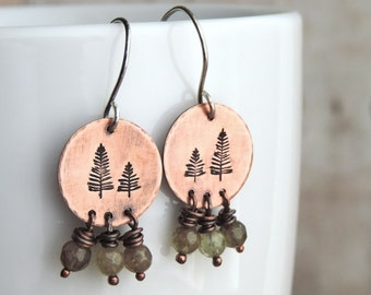 Green Pine Tree Earrings - Nature Jewelry - Woodland and Forest Inspired - Hiker Gift - Nature Lover - Earthy Jewelry