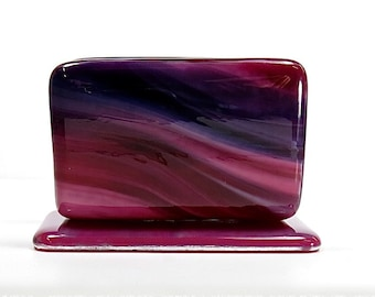Streaky Fused Glass Business Card Holder