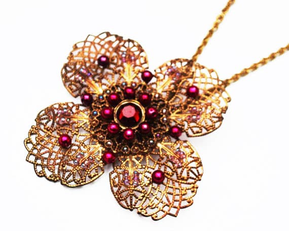 Large flower Pendant Necklace - Gold Filigree - Maroon rhinestone - Purple pearl bead - Floral Statement Necklace