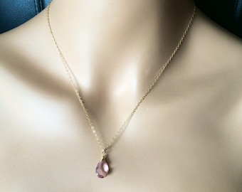 Pink Mystic Quartz Necklace - Gold - rose gold or Silver Chain