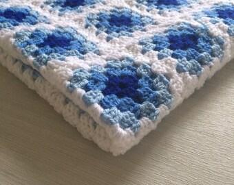 Blue Crochet Granny Square Blanket - Baby Blanket - Crochet Blanket - Blue Blanket - Granny Square Blanket