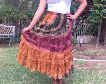 Tie  dye, cotton, skirt,amber,green,large skirt