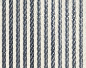 "James Thompson - ACA 32"" Blue Cream Ticking - 100% Cotton - By the Yard"