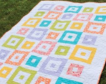 "Shuffle Block 2-1/2"" Strip Quilt Pattern -  Multiple Sizes -  Crib, Lap, Full  -  Printed Pattern"