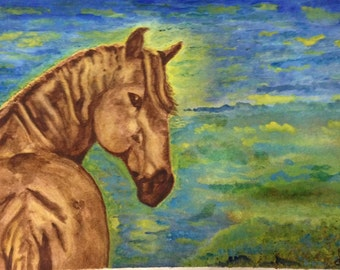 """Note Card Pack of 4 for Equestrian lovers, teacher gifts, gifts for horse lovers Blank inside with original poem """"Untamed Spirit"""" on back"""