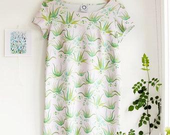 SALE! -Aloe Vera Short Sleeved Shift Dress in Organic Cotton Jersey. Succulent Dress. Mini Dress. Quirky Dress. Mod dress. Retro Dress