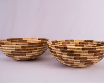 "15"" x 5.75"" Segmented Bamboo Bowl ""Swirling"""