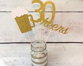 Beer mug centerpiece - 21st birthday - 30th birthday - cheers to 30 years - dirty thirty - thirsty thirty - centerpiece