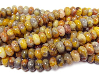 Crazy Lace Agate Smooth Rondelle Gemstone Beads