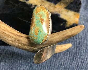 Turquoise Finger Hugger Ring with Fine Silver and Sterling Adjustable