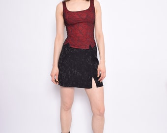 Vintage 90's Red Lace Crop Top /Black Mesh Corset Blouse - Size Small