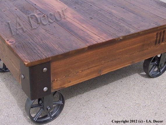 Marvelous Factory Cart Coffe Table Reclaimed Wood Coffee Table