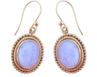 Lovely 925 Sterling Silver Hand Crafted Rainbow Moonstone Gold Plated Dangle Earrings For GIFT