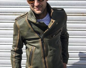 VINTAGE GREEN REBEL cafe racer jacket