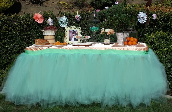 Tutu table skirt tulle table skirt custom made candy buffet watchthetrailerfo