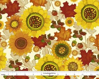 Acorns, Leaves, Sunflower Fabric, Fall Floral Quilt Fabric, Clothworks Fabric, Autumn Reverie Y2180-59, Sue Zipkin, Cotton Yardage