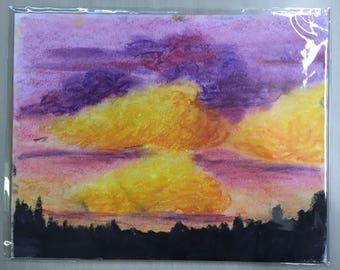 Clouds at sunset pastel drawing