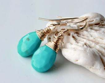 Genuine Arizona Turquoise Earrings, Gold filled wire wrap, Sleeping Beauty Turquoise, blue gemstone, minimalist, December birthstone, 4506