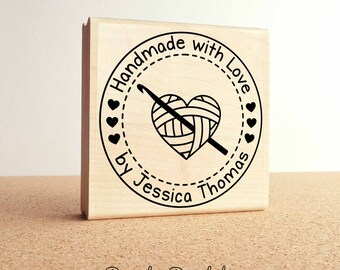 """Large 3x3"""" Personalized Crochet Rubber Stamp, Handmade with Love Crochet Label Stamp"""