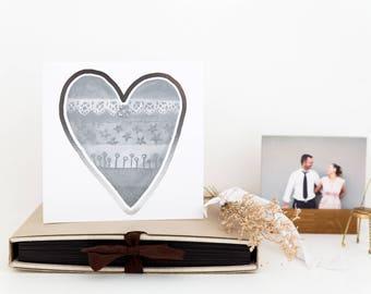 Silver Heart card, Heart Design Card,  Great for BFF Girlfriend, Wedding Anniversary Card, Colour Wheel Love, Silver wedding anniversary