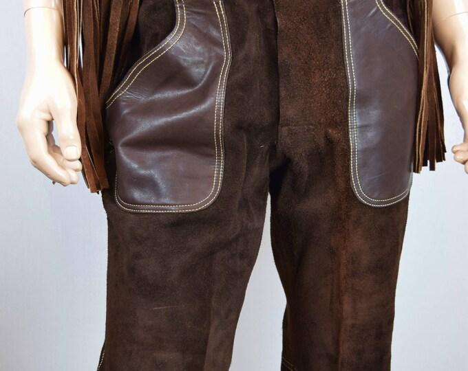 RaRe Vintage Men's RoCkStaR SILTON California Brown Leather & Suede Bell Bottom Pants HiPPiE 32 x 31