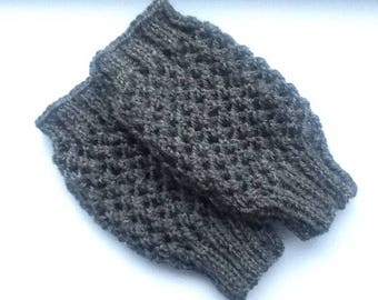 Hand Warmers Dark Grey Hand Knitted