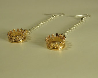 Crown - Princess - Gold - Silver earrings