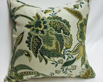 Green Jacquard Pattern Pillow Cover