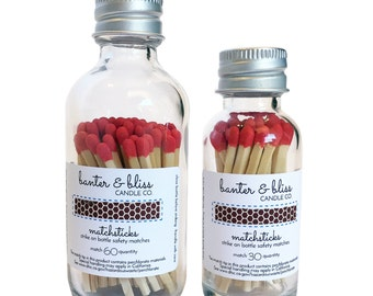 Match Bottles with Striker (30 & 60 Count Matchstickss Available) - Custom Labeling and Bulk Pricing Available!