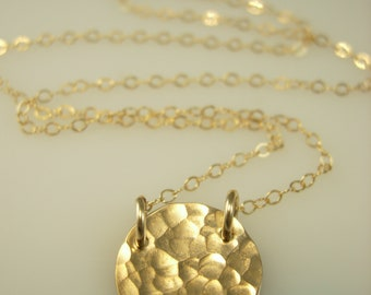 Gold Circle Necklace - Gold disc necklace - Hammered Gold Circle Necklace