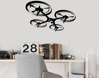Quadcopter Vinyl Wall Decal Drone Unmanned Aerial Vehicle UAV Stickers Mural  (#2657di)