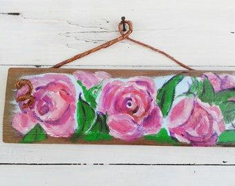 Pink roses art, rose art, original rose art, rosarian gift, rose lover gift, Mothers Day gift, 9.5x3 inches, Shirley Lowe, floral art