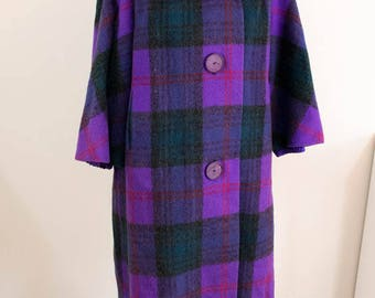 60s Vintage Coat - L/XL - Purple Plaid Coat - Plus Size Coat - Winter Coat - XL Coat - Retro Coat Heavy Coat - 60s Coat - Plus Size Vintage