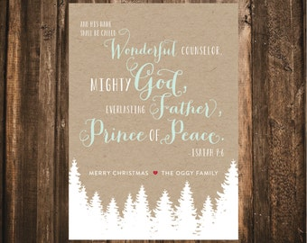 Rustic Evergreen Christian Christmas Card // 5x7 DIY Printable // Christmas Card, Personalized Christmas Card, Rustic Christmas Card