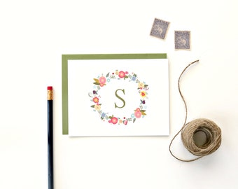 Floral Monogram Cards - Personalized Stationery - Set of 8 Cards and Envelopes